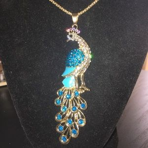 BrilliantBlue BetseyJohnson Bling Peacock Necklace